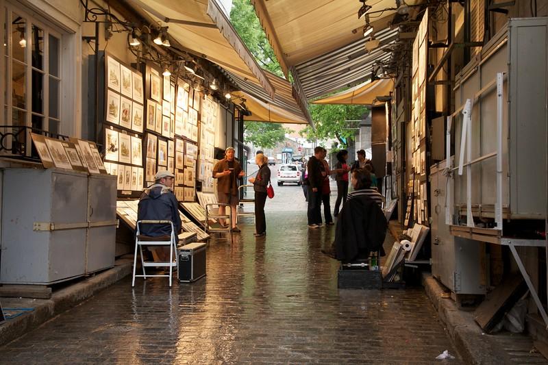 Artists, art vendors. Ru du Trésor. Quebec City, Canada.