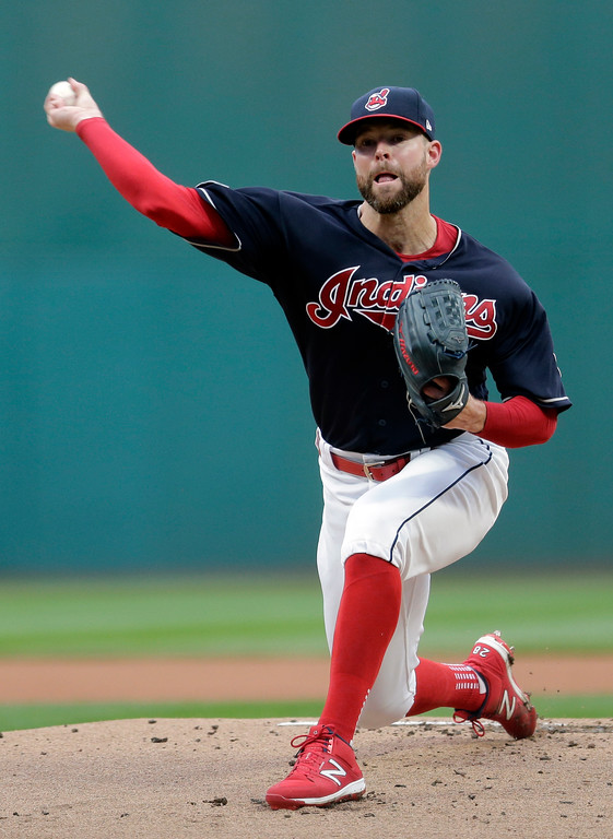. Cleveland Indians starting pitcher Corey Kluber delivers in the first inning of Game 2 of baseball\'s American League Division Series against the New York Yankees, Friday, Oct. 6, 2017, in Cleveland. (AP Photo/Tony Dejak)