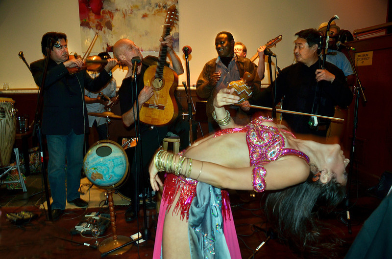 Opening night party for Freddy Clarke's Wobbly World and his mother Pearl's birthday, at Maestro's Restaurant (formerly STARS).PERFORMERS:- Fely Tchaco, Ivory CoastFrench and Guoro Vocals- Georges Lammam, LebanonArabic Vocals / Violin- Erick Barberia, CubaBata / Yoruba and Spanish Vocals- Candido, NigeriaPercussion / Yoruba Vocals - Mingyuan Yuan, ChinaMandarin Vocals / Erhu - Vassil Bebelekov, BulgariaGaida - Scott Thompson, USBass - David Tucker, USDrums - Freddy Clarke, Menlo ParkGuitar / Vocals