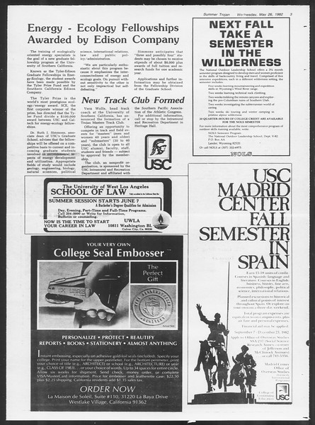 Summer Trojan, Vol. 91, No. 69, May 26, 1982