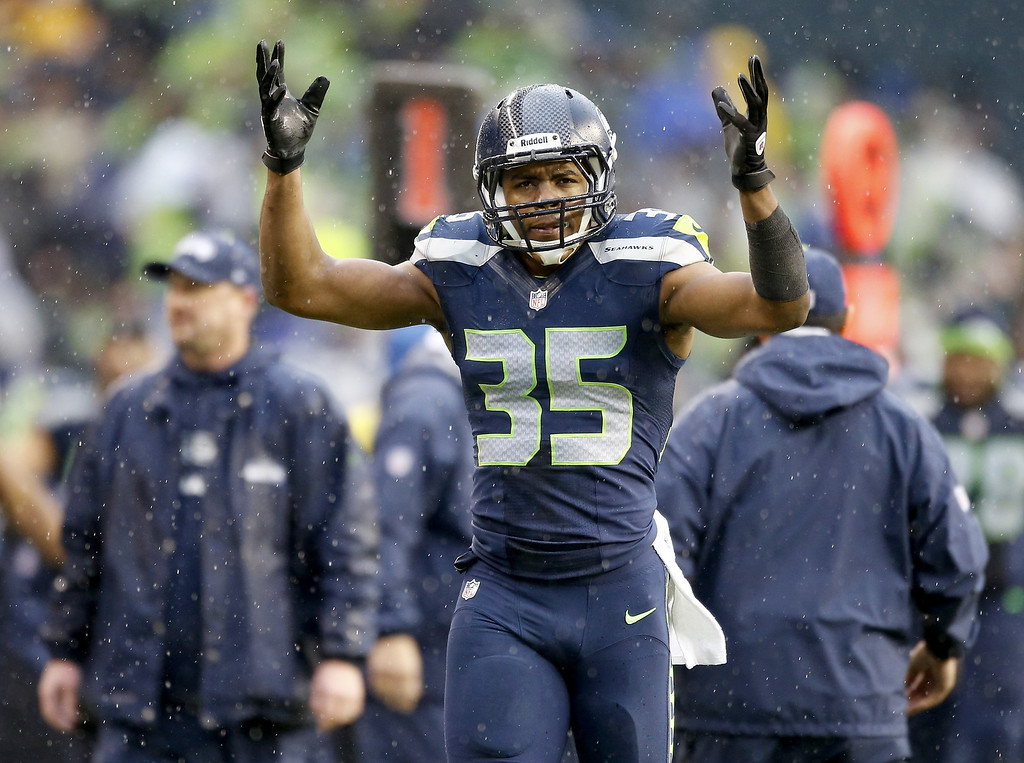 . SEATTLE, WA - JANUARY 11:  DeShawn Shead #35 of the Seattle Seahawks reacts after tackling Darren Sproles #43 of the New Orleans Saints on a kick return in the second quarter during the NFC Divisional Playoff Game at CenturyLink Field on January 11, 2014 in Seattle, Washington.  (Photo by Otto Greule Jr/Getty Images)