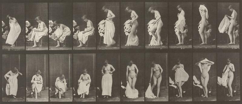 Nude woman sitting and disrobing (Animal Locomotion, 1887, plate 498)