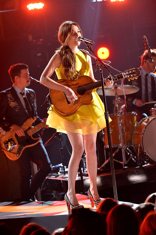 . NASHVILLE, TN - NOVEMBER 06:  Kacey Musgraves performs onstage during the 47th annual CMA awards at the Bridgestone Arena on November 6, 2013 in Nashville, United States.  (Photo by Rick Diamond/Getty Images)