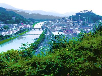 Salzburg and river Salzach seen from Mönchsberg