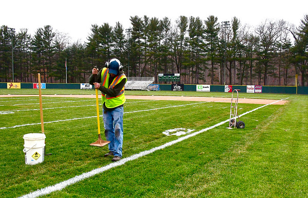 11/27/2019 Mike Orazzi | Staff Bristol Parks & Recreation employee Matt Newton while preparing Muzzy Field for the Thanksgiving Day football game between Bristol Eastern and Bristol Central.