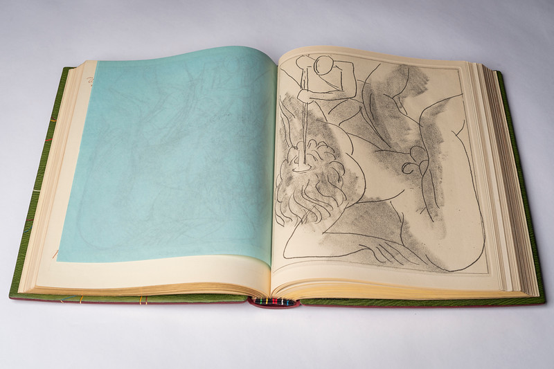 James Joyce's Ulysses containing one-of-a-kind soft-ground sketches by Henry Matisse, ca. 1936. More info: http://www.indiana.edu/~liblilly/joyce/later.html