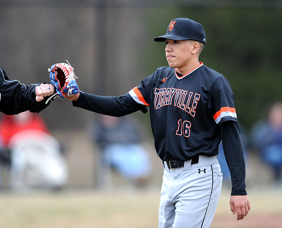 4/11/2019 Mike Orazzi | Staff Terryville's Albert Molina (16) during Thursday's baseball game with Thomason at Terryville High School.