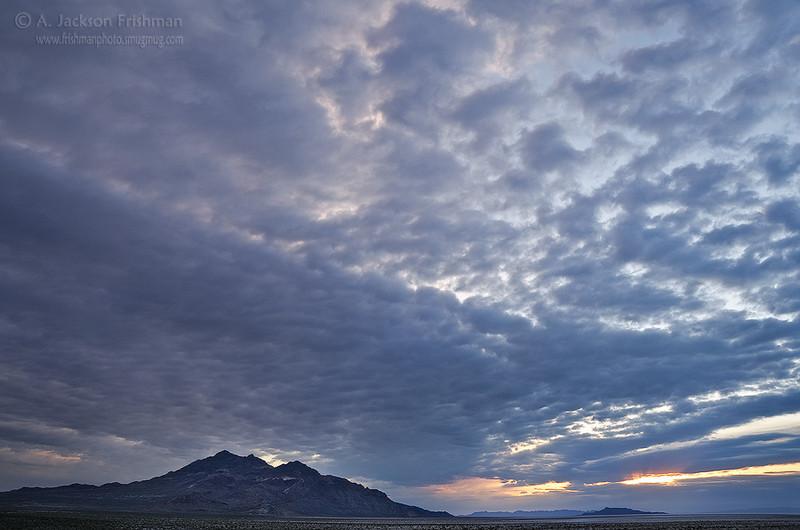 Cloudy sunrise over the Silver Island Range, Utah Salt Flats, May 2011.