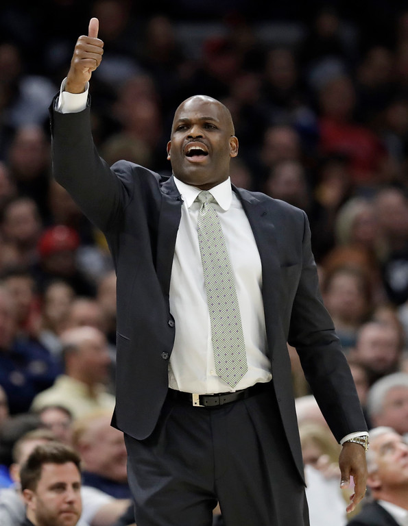 . Indiana Pacers head coach Nate McMillan yells instructions to players in the second half of Game 1 of an NBA basketball first-round playoff series against the Cleveland Cavaliers, Sunday, April 15, 2018, in Cleveland. (AP Photo/Tony Dejak)