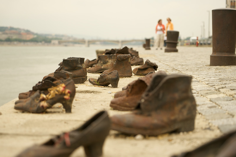 """""""Shoes On the Danube"""" memorializes Hungarian Jews who the Nazis ordered to take off their shoes before shooting them into the Danube RIver."""