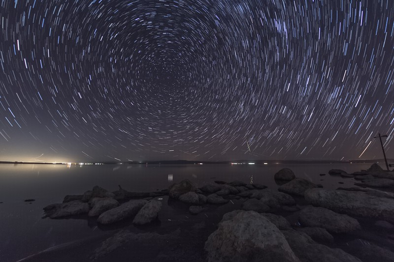 Geminid Meteor and Star Trails Above the Salton Sea