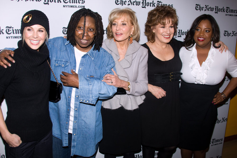 """. The co-hosts of \""""The View\"""" attend the New York Times Arts & Leisure Weekend, Thursday, Jan. 8, 2009, in New York. (AP Photo/Charles Sykes)"""