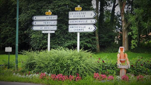 At a village crossroads.