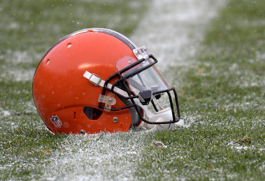 . A Cleveland Browns helmet sits on the field during warm ups before an NFL football game between the Pittsburgh Steelers and the Cleveland Browns in Pittsburgh, Sunday, Dec. 31, 2017. (AP Photo/Don Wright)