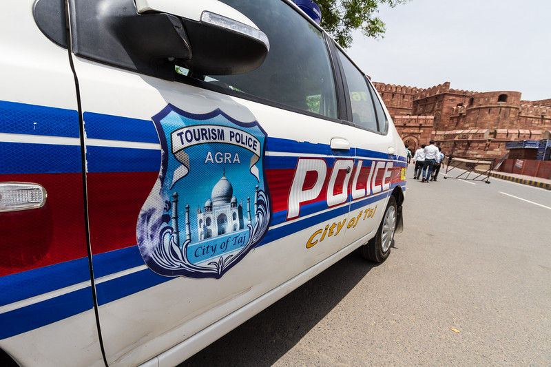 Wide Shot of a Tourism Police car for Agra at the Agra Fort, India