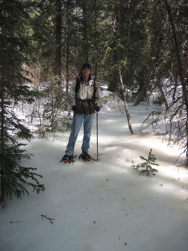 Taking the scenic shortcut on a path atop the frozen creek.