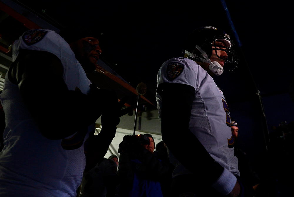 . Baltimore Ravens quarterback Joe Flacco (5) waits to run onto the field before the start of the game. The Denver Broncos vs Baltimore Ravens AFC Divisional playoff game at Sports Authority Field Saturday January 12, 2013. (Photo by AAron  Ontiveroz,/The Denver Post)
