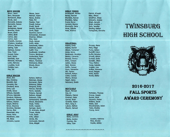 Twinsburg High School Fall Sports Awards (2016)