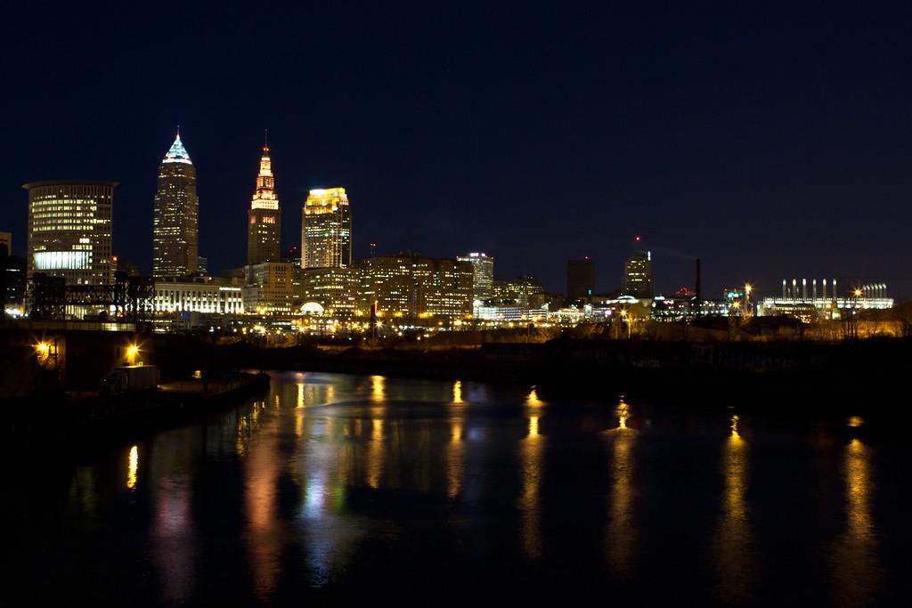 3/7/12<br /> <br /> Cleveland, OH & Cuyahoga River. Taken last night.