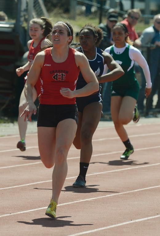 . Maribeth Joeright/MJoeright@News-Herald.com<p> Chardon\'s Stephanie Ferrante leads the pack in the girls 100 meter dash during the Hilltopper Invitational.