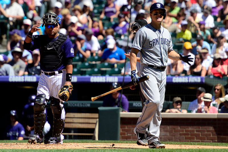 . During the action in Denver. The Colorado Rockies hosted the San Diego Padres at Coors Field on Sunday, June 9, 2013. (Photo by AAron Ontiveroz/The Denver Post)