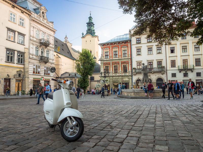 Scooter on the Square, Lviv, Ukraine