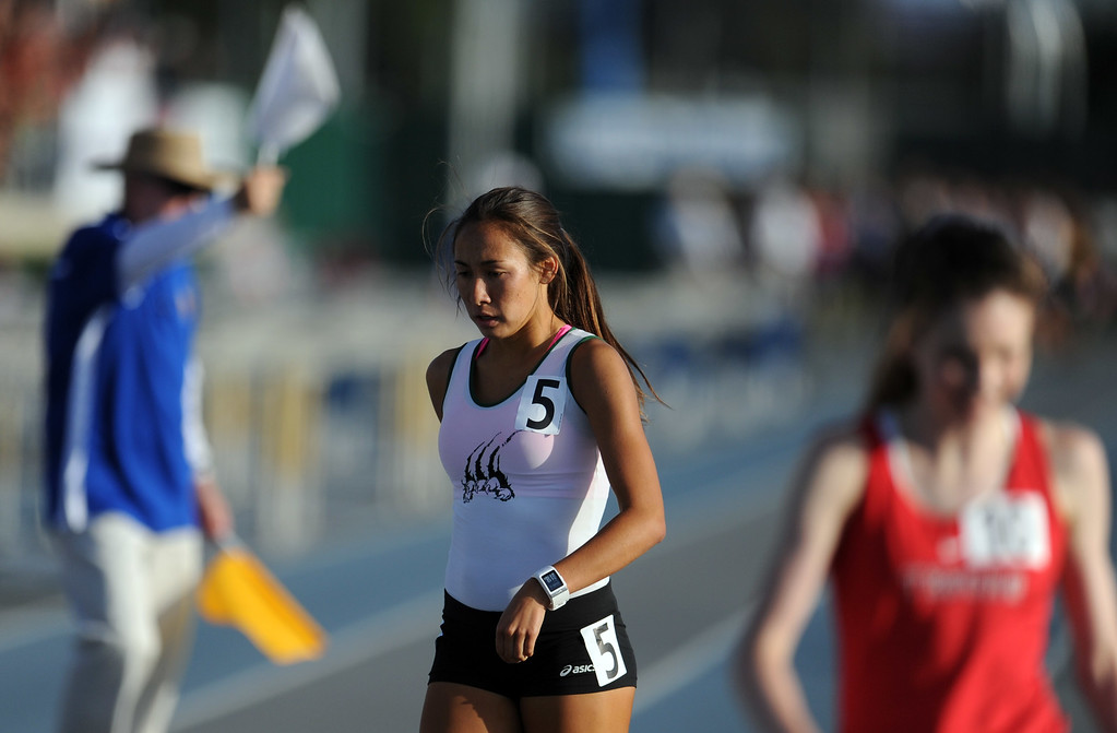 . Bonita\'s Marissa Scott after the 1600 meter race during the CIF-SS Masters Meet at Cerritos College on Friday, May 24, 2013 in Norwalk, Calif.  (Keith Birmingham Pasadena Star-News)