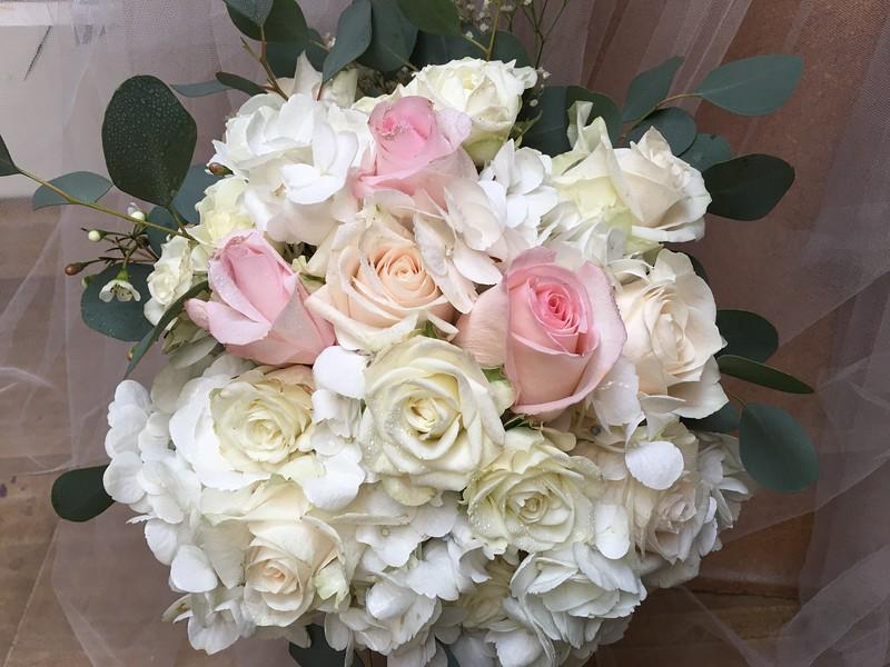 white hydrangea ,blush roses eucalyptus ivory roses $125