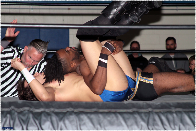 "Ricky Archer vs. Xavier Faraday of Oreo Speedwagon during the UFO Wrestling ""Monsters Ball"" show held on October 25, 2019 at the Tynan Community Center in South Boston, Massachusetts."