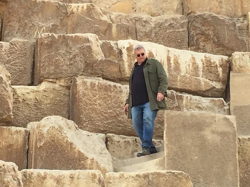 Klaus climbing the Great Pyramid....