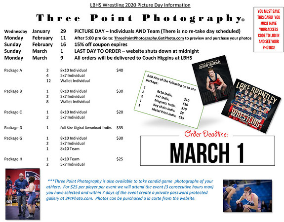 WRESTLING PICTURE DAY - Jan 29, 2020 5:00