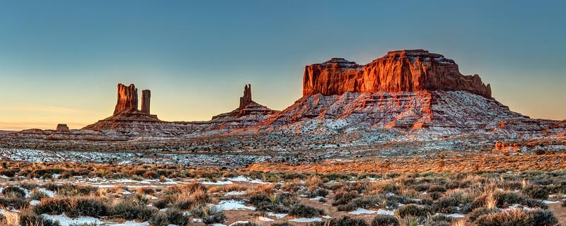 Snowy Sunrise near Monument Valley