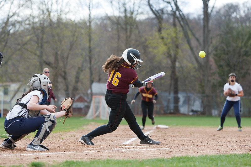 Sheehan's Sara Psanelli (16) connects for a hit driving in two runs Monday at Lyman Hall High School in Wallingford  Apr. 27, 2015 | Justin Weekes / For the Record-Journal