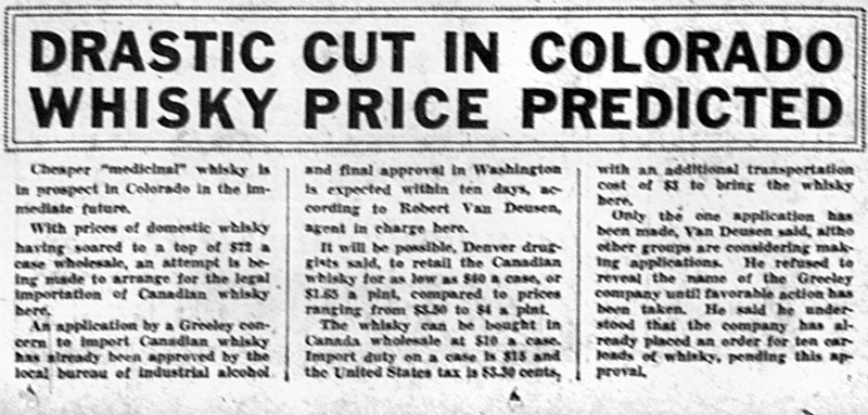 . Business article published in The Denver Post on September 26, 1933 when Prohibition ended in Colorado.