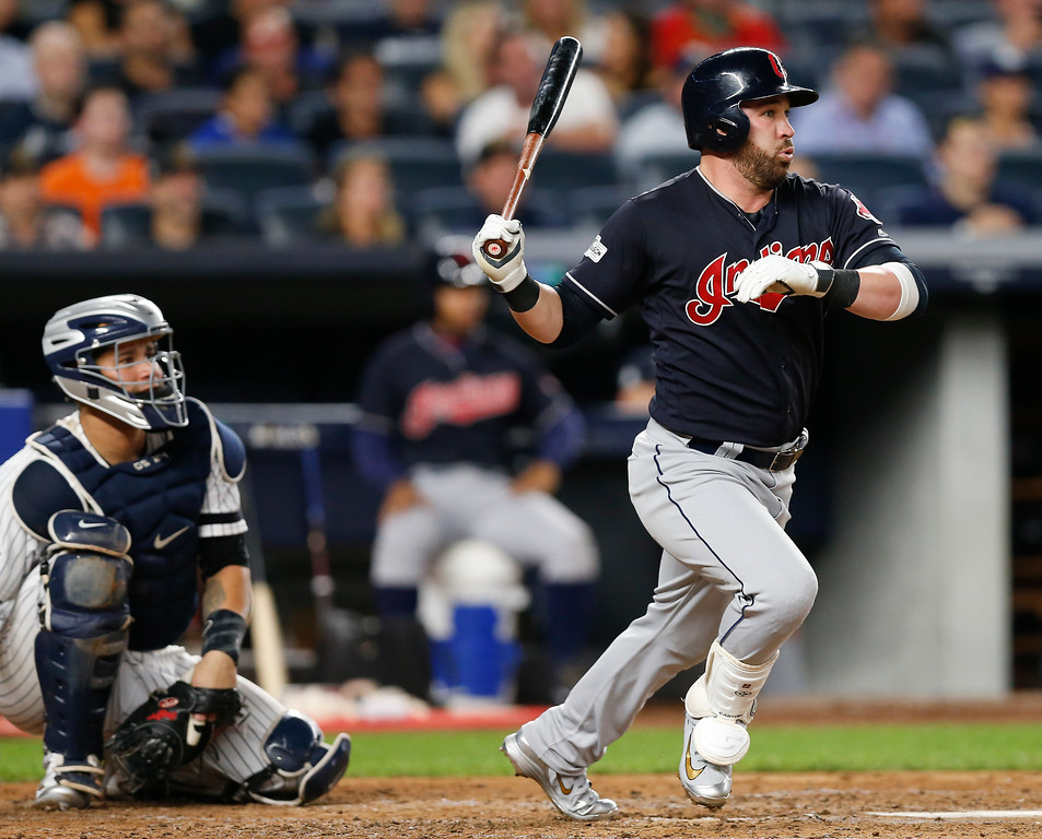 . Cleveland Indians\' Jason Kipnis triples to right field against the New York Yankees during the fourth inning in Game 3 of baseball\'s American League Division Series, Sunday, Oct. 8, 2017, in New York. (AP Photo/Kathy Willens)