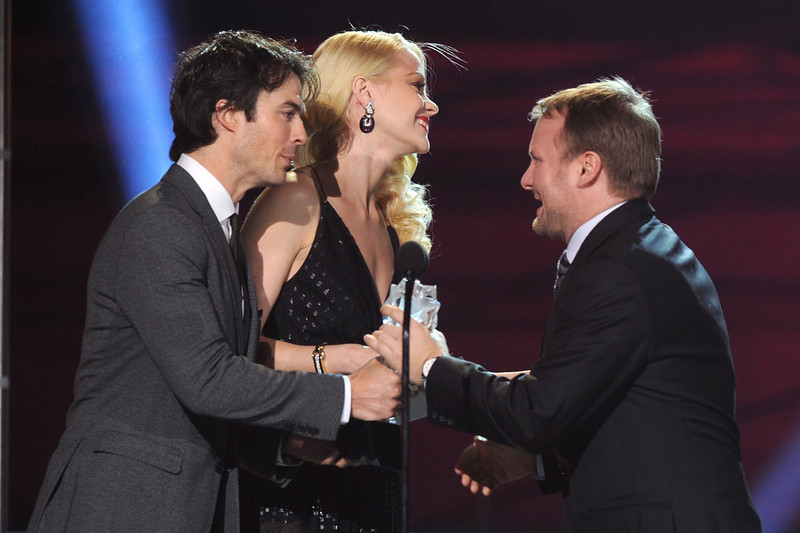 . (L-R) Presenters Ian Somerhalder,Jaime King and director Rian Johnson onstage at the 18th Annual Critics\' Choice Movie Awards held at Barker Hangar on January 10, 2013 in Santa Monica, California.  (Photo by Kevin Winter/Getty Images)