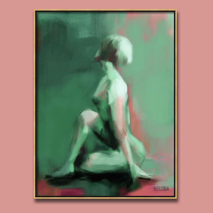 Seated Woman: Jade and Emerald Green Wall Art with pops of Coral by Beverly Brown. Printed large on canvas in a gold frame against a dusty rose wall.