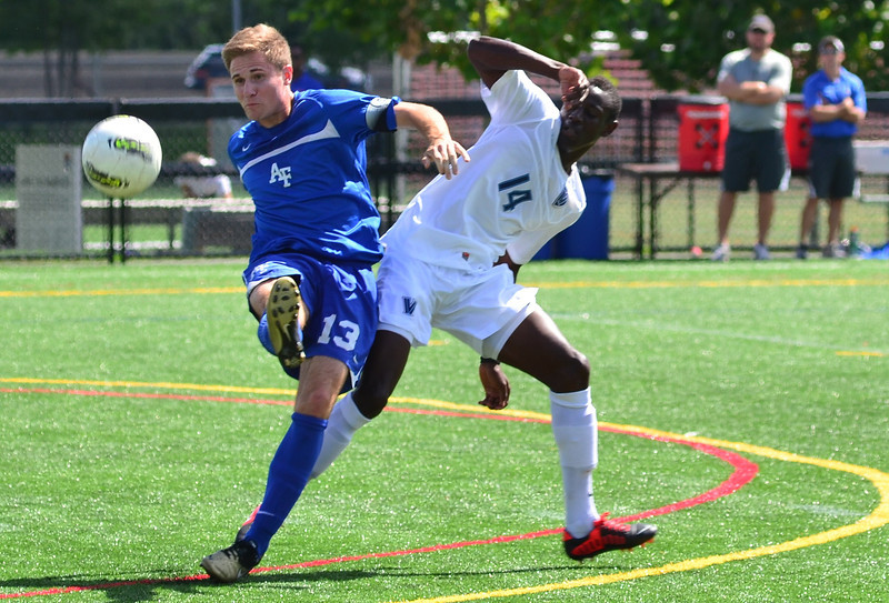 Kevin Durr, who assisted Brian Klazura on the only goal of the game, clears the ball across the field