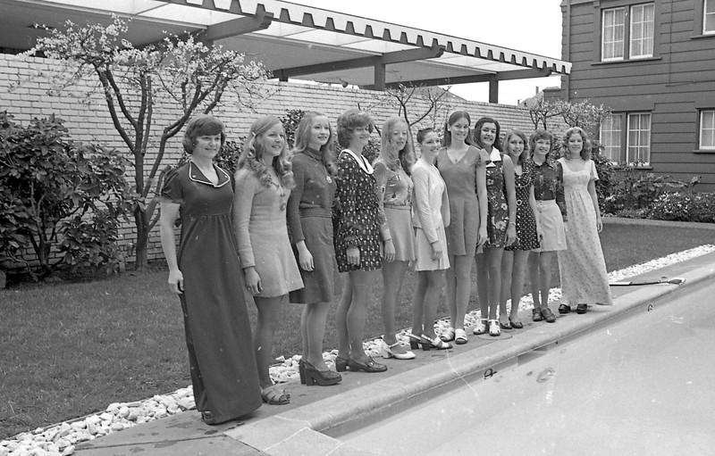 The 1975 Miss Humboldt contestants were, from left, Pamela Cox, Debbie Lewis, Margie Schierberl, Laura Johnson, Mary Ann Sinnott, Miss Humboldt 1974 Chollana Pepper, Karen Schroeder, Mollie Beasley, Marguerite McVay, Patricia Ingram and Nancie Hubacker. (Times-Standrad file photo)