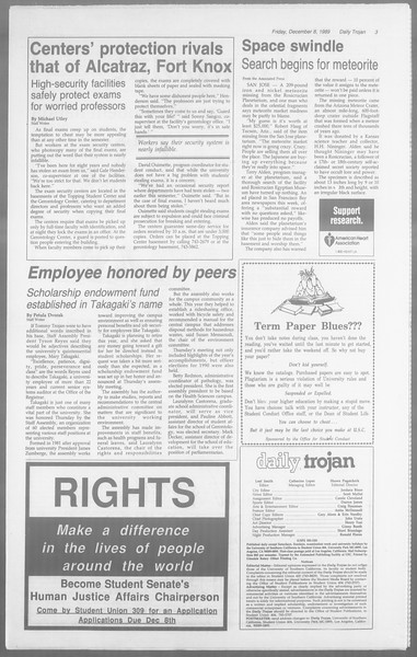 Daily Trojan, Vol. 110, No. 65, December 08, 1989