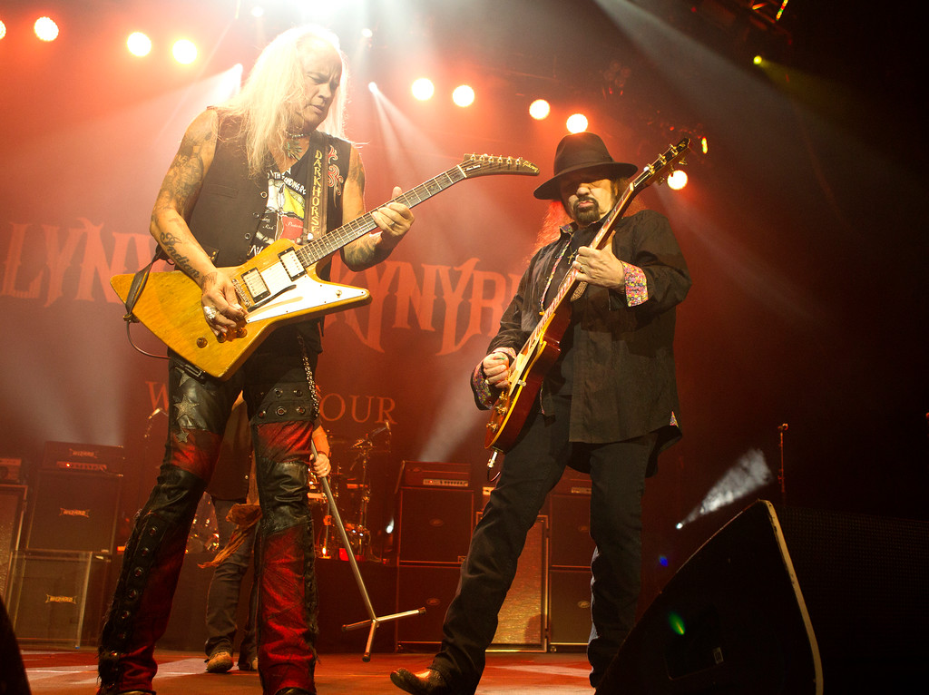 . Rickey Medlocke, left, and Gary Rossington of the band Lynyrd Skynyrd perform in concert at The BB&T Pavilion on Saturday, Aug. 19, 2017, in Camden, N.J. Lynyrd Skynyrd performs July 27 at Blossom Music Center. For more information, visit livenation.com/venues/14481/blossom-music-center.  (Photo by Owen Sweeney/Invision/AP)