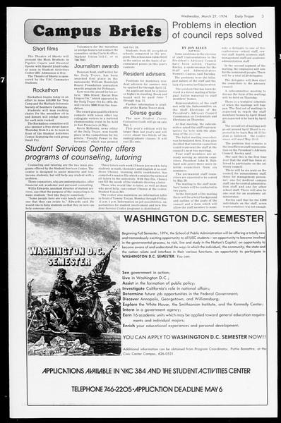 Daily Trojan, Vol. 66, No. 99, March 27, 1974