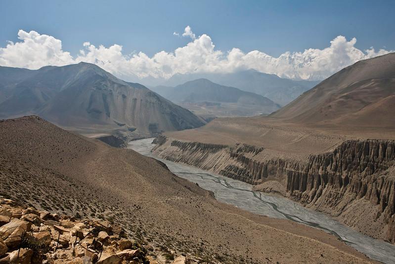 Trekking through the village of Kagbeni. (2900m), the trail is flat, barren, following the Kali Gandaki riverbed. Mustang, Nepal.