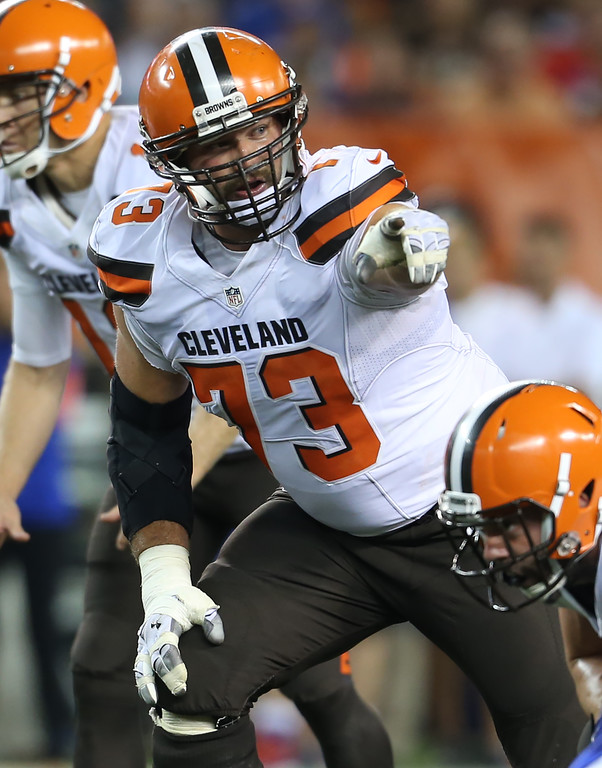 . Cleveland Browns tackle Joe Thomas (73) against the Buffalo Bills in an NFL preseason football game, Thursday, Aug. 20, 2015, in Cleveland. (AP Photo/Ron Schwane)