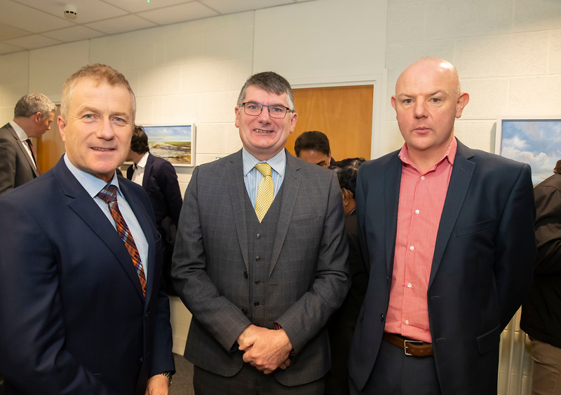 15/11/2019. FREE TO USE IMAGE. Pictured at the The official opening of the ArcLabs Research & Innovation Centre WIT extension, at Carriganore, Co Waterford. Pictured are Cllr Eddie Mulligan, Paul Quirke WIT and Leonard Ealy Mythen Construction. Picture: Patrick Browne