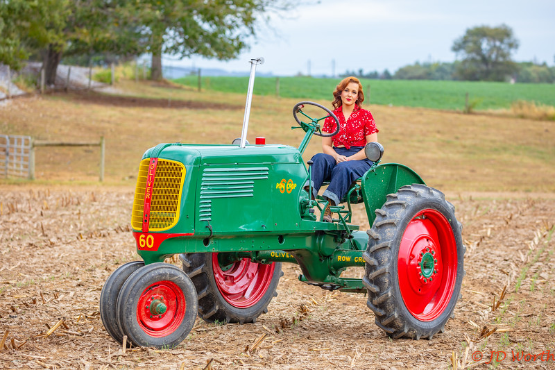 Strasburg RR - 611 382 Sunset Lerro Photo 5DsR Shoot - 50s Era Redhead Model on Vintage Oliver Tractor-7487.jpg