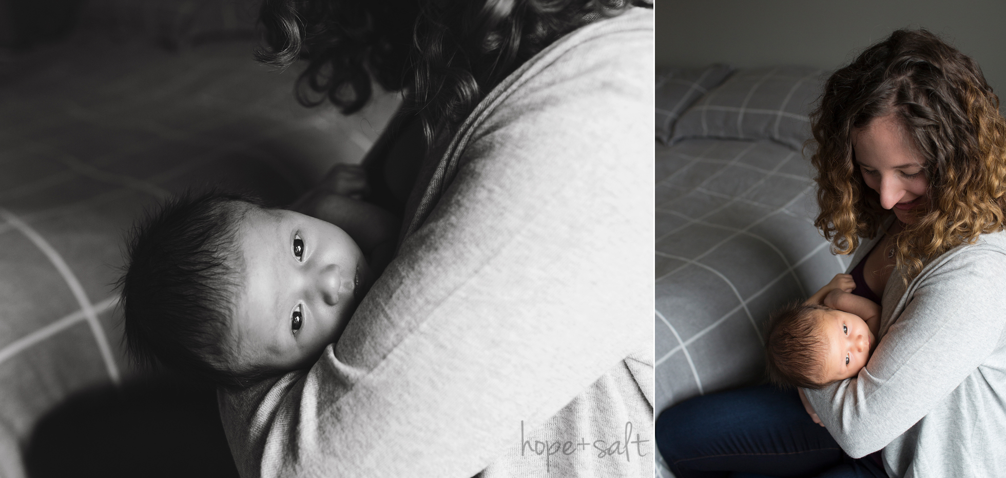 hamilton ontario newborn photographer - in home lifestyle session for baby boy calvin and parents natural emotion candid images by Burlington Photographer Hope + Salt