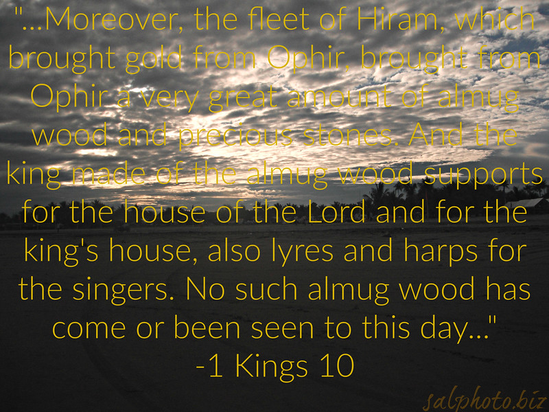 """The Queen of Sheba https://www.biblegateway.com/passage/?search=1%20Kings+10&version=ESV  11 Moreover, the fleet of Hiram, which brought gold from Ophir, brought from Ophir a very great amount of almug wood and precious stones. 12 And the king made of the almug wood supports for the house of the Lord and for the king's house, also lyres and harps for the singers. No such almug wood has come or been seen to this day. """"-1 Kings 10  https://www.openbible.info/topics/gold_of_ophir  Where is OPHIR, Is it the Philippines? https://www.youtube.com/watch?v=WXV9Ml4MERE  https://goodnewseverybodycom.wordpress.com/2015/11/23/neutral-perspective-spanish-others-colonialism-in-the-philippines-was-good-and-bad/  The Philippines in Bible Prophecy https://www.youtube.com/watch?v=PRMYd-Yda1c  https://salphotobiz.smugmug.com/Seen-on-Media/i-gTc49Rg"""