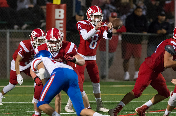 09/12/19 Wesley Bunnell | StaffrrBerlin football vs Tolland on Thursday night at Sage Park. Justin Skates (8).