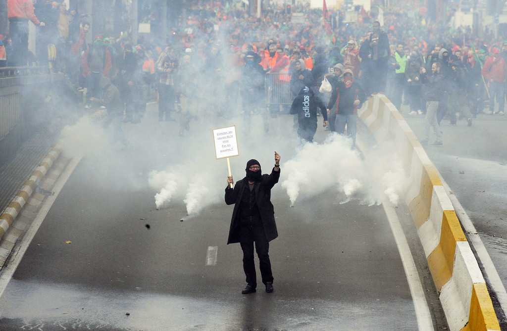 . Protestors take part on November 6, 2014 in Brussels, in a huge march, the first mass protest against the new centre-right government\'s austerity policies.     AFP PHOTO / JOHN THYS/AFP/Getty Images
